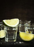 Tequila shot with lime Royalty Free Stock Photos