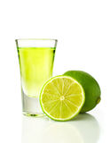 Tequila shot with lime Royalty Free Stock Photography