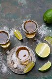Tequila shot with lime stock photo