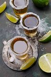 Tequila shot with lime royalty free stock images