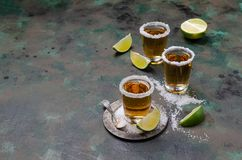Tequila shot with lime stock photography