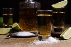 Tequila shot with lime royalty free stock image