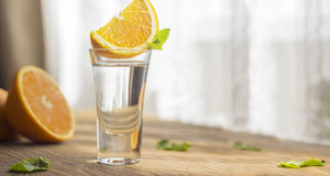 Tequila shot with orange. With copypaste space Royalty Free Stock Photography