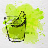 Tequila shot sketched on paper with green watercolor splash. Vector illustration. Royalty Free Stock Photo