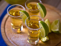 Tequila shots. With wedges of lime and salt Royalty Free Stock Photo