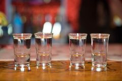 Tequila shots - alcohol. Tequila shots on top of the table Royalty Free Stock Photography