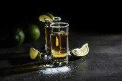 Tequila shots with lime slices Royalty Free Stock Images