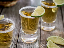 Tequila shots with salt rim Stock Photo