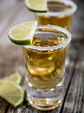 Tequila shots with salt rim Royalty Free Stock Images