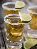 Tequila shots with salt rim Stock Images