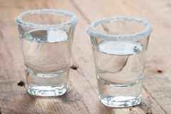 Tequila shots on the table. Royalty Free Stock Photography