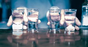 Tequila shots - alcohol. Tequila shots on top of the table Royalty Free Stock Image