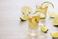 Tequila shots. Two tequila shots ready with salt and lime slices stock image
