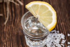 Tequila Silver with lemon and salt Royalty Free Stock Photography