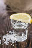 Tequila Silver with lemon and salt Stock Photography