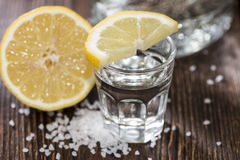 Tequila Silver with lemon Stock Photography