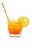 Tequila-Sonnenaufgang, Zitrone, getrennt, Ausschnitts-Pfad lizenzfreie stockfotos