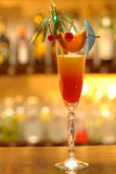 Tequila Sunrise. Drink made of tequila, orange juice and grenadine syrup royalty free stock photo