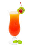 Tequila sunrise. Cocktail drink on a white background royalty free stock image