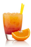 Tequila sunrise. Cocktail isolated on a white background stock photography