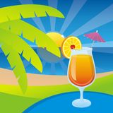 Tequila sunrise. A glass of tequila sunrise cocktail on a tropical beach background Stock Images