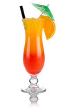 Tequila sunrise. Cocktail tequila sunrise in front of white background stock photo