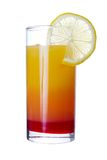 Tequila Sunrise. Long drink with lemon slice , isolated on white Royalty Free Stock Images