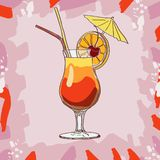 Tequila sunrise cocktail. Alcoholic bar drink hand drawn vector. Pop art royalty free illustration