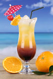 Tequila Sunrise cocktail drink at the sea Royalty Free Stock Photos