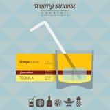 Tequila sunrise cocktail flat style illustration Stock Photos