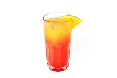 Tequila sunrise cocktail with ice. Isolated on white background royalty free stock photography