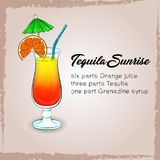 Tequila Sunrise Cocktail on light brown background. Tequila Sunrise Cocktail,  Vector isolated illustration on light brown background with ingridients for Stock Photo