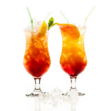 Tequila Sunrise cocktail. Over white background stock image