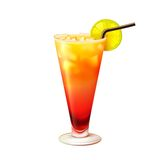 Tequila sunrise cocktail realistic Royalty Free Stock Photo