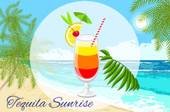 Tequila sunrise cocktail on the seaside background stock images