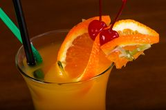 Tequila Sunrise cocktail. With orange royalty free stock image
