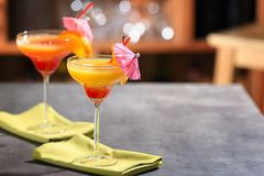 Tequila sunrise cocktails. On table Royalty Free Stock Image