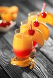 Tequila sunrise cocktails. On table Royalty Free Stock Photo