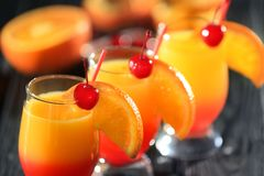 Tequila sunrise cocktails. On table Stock Photo
