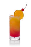 Tequila Sunrise. In a glass with a slice of orange and cherry against a white background royalty free stock photos