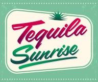 Tequila sunrise vector sign - lettering vector illustration