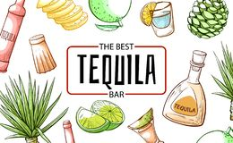 Free Tequila The Best Refreshment Bar And Beverage Banner Stock Image - 134595301