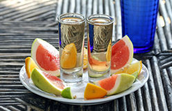Tequila Times Two. Two shots of Mexican tequila with slices of orange and grapefruit seen through the shotglasses. Salud Stock Images