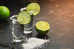 Tequila tirado con la cal y la sal en la luz del sol en un fondo oscuro Foco selectivo, espacio de la copia imágenes de archivo libres de regalías