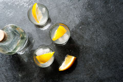 Tequila vodka shots with lemon slices, top view Stock Images