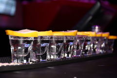 Tequila. White Tequila shots with lemon slices Royalty Free Stock Image