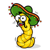 Tequila worm. A cartoon tequila worm wearing a sombrero Stock Image