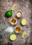 Tequilaen i ett skjutit exponeringsglas med saltar och skivad limefrukt arkivfoton