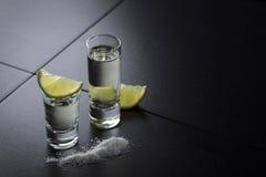Tequilaen limefrukt och saltar royaltyfri foto
