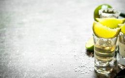 Tequilaen med limefrukt och saltar arkivfoton
